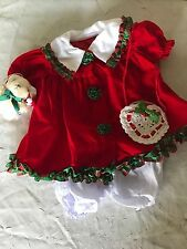 "Lissi Puppe 18"" 20"" Infant Size Doll Christmas Dress Bear Clothes Outfit"