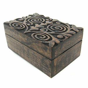 """NEW Mystic Spirals Carved Wood Box 4x6"""" Wooden Chest for Mini Tarot or Trinkets"""