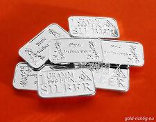 10x 1 Gramm Silberbarren FROHE WEIHNACHTEN Weihnachtsgeschenk 10g Silber Barren