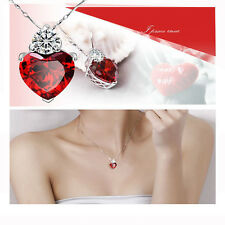 3 Colors Silver Plated Crystal Love Heart Necklace Gift for Girlfriend Wife Mum