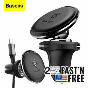 Baseus Air Vent Mount Magnetic Car Phone Holder w Charger Cable Organizer Clip