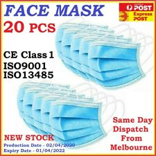 Mask face Protective 3 Layer Mouth Masks Anti Bacterial Filter AUS NEW STOCK 20x
