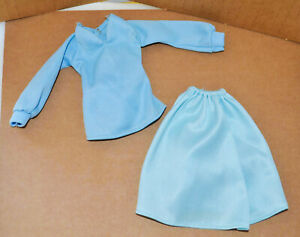 Vintage 1976 Mego Cher Doll Means Business Blue Skirt Shirt Top FASHION