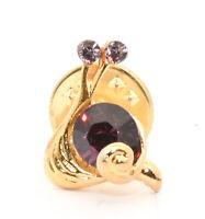 Vintage Gold tone SNAIL Bug Purple Rhinestone Lapel Pin Brooch Estate Jewelry