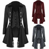 Retro Victorian Lady Steampunk Tailcoat Gothic Trench Coat Long Lapel Jacket