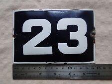Vintage Enameled Porcelain Tin Sign House Door Number 23 - 5.7inch /3.8 inch B 1