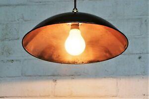 A Vintage Ceiling Light Industrial Copper Coolie Lamp Salvage ex Pub Light 1950s
