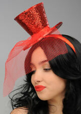 Burlesque Gothic Red Glitter Mini Top Hat