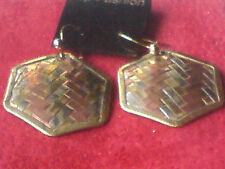 """Vintage latón, cobre y tejido hecha a mano de metal blanco Pendientes de Gota de 1"""" £ 4.95 Nuevo con etiquetas"""