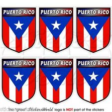 PUERTO RICO Shield Puerto Rican 40mm Mobile Cell Phone Mini Stickers, Decals x6