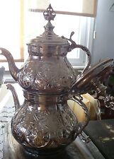 Traditional Turkish Handmade TEAPOT Copper  Double Kettle Caydanlik Large