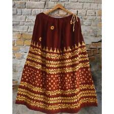 Sanskriti Vintage Long Skirt 100% Pure Cotton Dark Red Hand Embroidered Floral