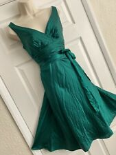 GORGEOUS MONSOON SIZE 10/38 EMERALD GREEN LUXURIOUS SILK MIX OCCASION PARTYDRESS