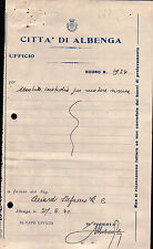 RICEVUTA DEL 1940 ALBENGA MOBILE PER CUSTODIRE SIRENA ANTIAEREA  - 3-63