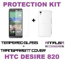 KIT COVER + PELLICOLA VETRO TEMPERATO HTC DESIRE 820 TPU CASE + TEMPERED GLASS