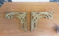 Pair of  Solid Brass  ornateWall Shelf Brackets