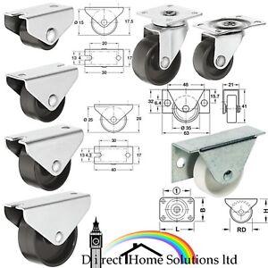 1 X HAFELE FIXED & SWIVEL CASTOR FURNITURE WHEEL Ø 15-45mm OFFICE CHAIR WHEELS