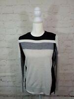 Athleta Womens XS Color Block Merino Fine Wool Sweater Top Gray EUC FAST SHIP