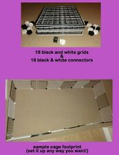 18 black & white grids + connectors guinea pig C&C (cube & coroplast) cage +tips