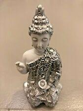 MEDITATING WHITE & SILVER  BUDDHA KNEELING