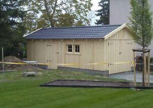 Holzgarage 4m x 8m Fertiggarage mit Satteldach  Geräteschuppen Gartenhaus Holz