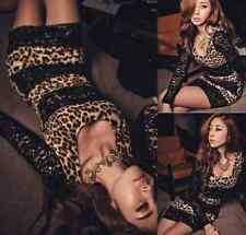 Sexy Hot Party Leopard Animal Print Black Lace Womens Dress Micro Mini Clubwear