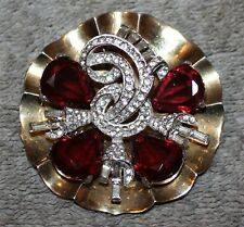 Brooch Rhinestone Baguettes W/Ruby Crystals Vintage Signed Mazer Lily Pad Pin