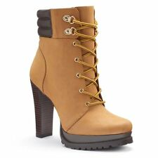 $100 Women Jennifer Lopez Platform High Heel Ankle Boot Dress Booties BROWN 8.5