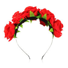 Rose Flower Crown Headband Wedding Festival Garland Hairband Double Row Floral