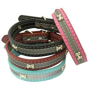 Pu leather Pet Dog Puppy reflective safety Collar M with steel bone 4 colors