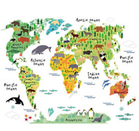 Colorful Animal World Map Vinyl Wall Sticker Kids Room Art Decals Home Decor PVC