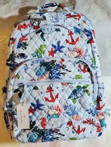 VERA BRADLEY Essential Large Backpack ANCHORS AWEIGH Nautical Fish Seahorse $149