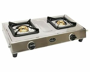 Sunflame Style 2B Stainless Steel 2 Burner LPG Gas Stove Manual Ignition