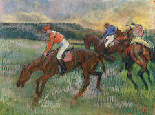 Degas Race Horse Drawings: Three Jockeys - Fine Art Print