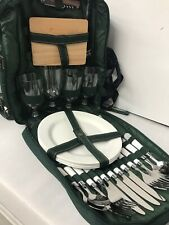 Insulated Picnic Basket Backpack Utensils Plates Wine Glasses Service For 4