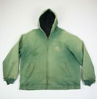 Destroyed Vtg KBrand John Deere Hooded Jacket Sun Fade Distress Workwear XL/2XL?