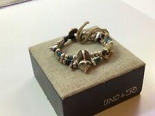 """NWT Uno de 50 Silver-plated Bracelet w/multi-color Murano Crystals/Beads """"Es Car"""