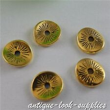 50668 Gold Alloy Perforation Round Piece Pendant Charms Jewelry Craft 100pcs