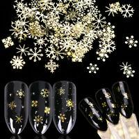 3D Christmas Snowflake Star Gold Metal Nail Glitter Sequins Nail Art Decoration