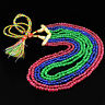 494.00 CTS EARTH MINED 6 STRAND RUBY, EMERALD & SAPPHIRE ROUND BEADS NECKLACE