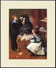 POODLE GROOMED BY BOY AND GIRL OLD STYLE IMAGE DOG PRINT MOUNTED READY TO FRAME