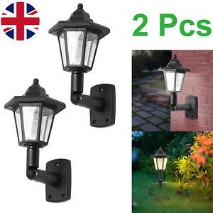 2PCS Solar Powered LED Lights Outdoor Garden Fence Wall Lantern Lamp