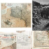 Rare WWI 1918 The Literary Digest Liberty Map Western Front World War Relic