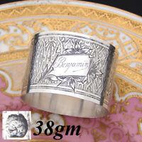 "Antique French Sterling Silver Napkin Ring, Floral, ""Benjamin"" Inscription"