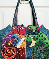 Laurel Burch Celestial Felines medium canvas tote lunch bag with cat prints