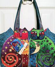 Laurel Burch Celestial Felines medium canvas tote lunch bag with cat prints