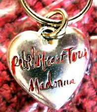 MADONNA REBEL HEART TOUR SOLID THICK HEART SILVER RED KEY CHAIN SEALED PROMO BAG