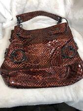 Big Buddha Santa Barbara Brown  Faux Snake Skin Shoulder Bag Tote Handbag Purse