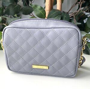 IMAN Quilted Mini Gray Crossbody 100% Leather Handbag