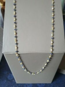 Exquisite natural basra pearl and natural untreated sapphire 18ct gold necklace